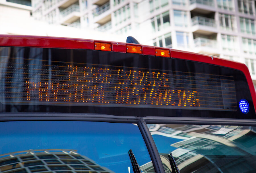 A photo of a TTC bus during the COVID-19 pandemic in Toronto, Ontario