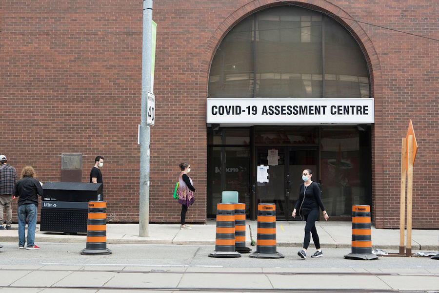 A photo of a COVID-19 testing centre in Toronto at the Western Hospital