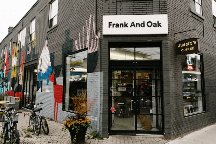 A photo of a Frank and Oak store on Queen West in Toronto