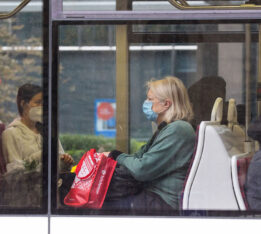 A photo of people wearing masks on a TTC streetcar in October 2020