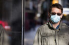 A photo of a person wearing a mask in Toronto in October 2020 during the COVID-19 pandemic