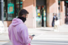 A person wearing a mask in Toronto in October 2020 during the COVID-19 pandemic