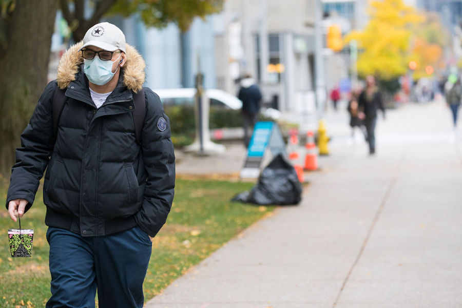 A photo of a person wearing a mask in Toronto
