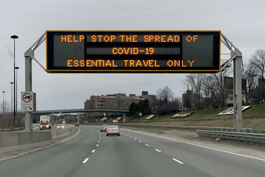 A highway sign in Toronto from March 2020