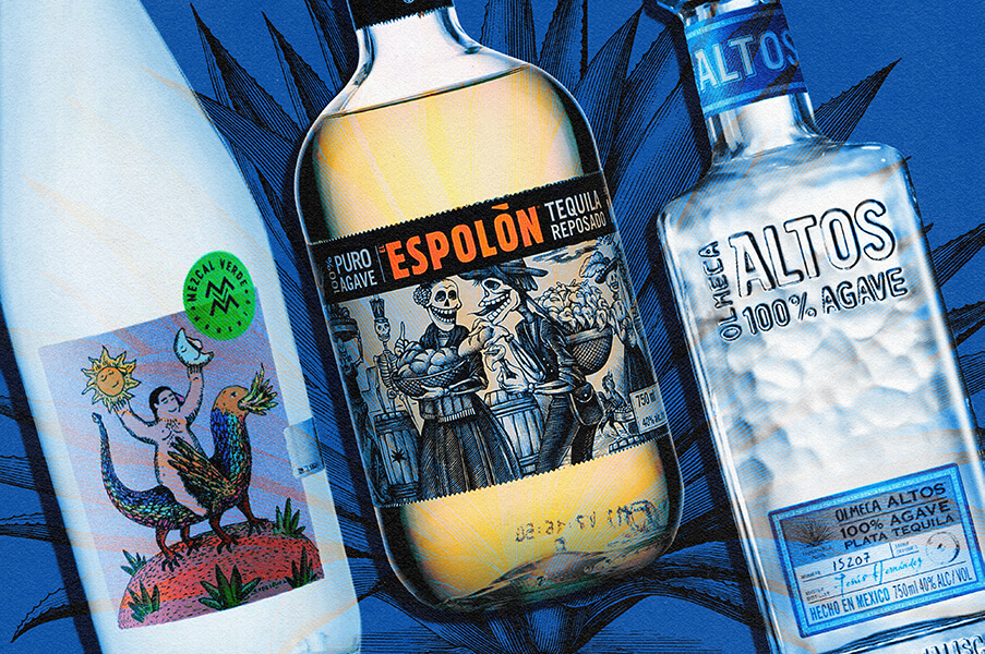 A photo of tequila and mezcal