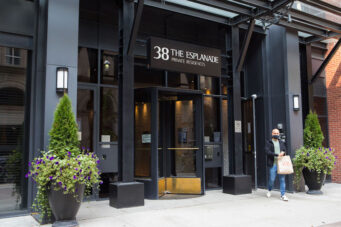 A photo of a condo entrance in Toronto at 38 Esplanade