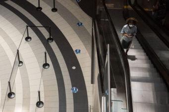 A shopper in the Toronto Eaton Centre Mall