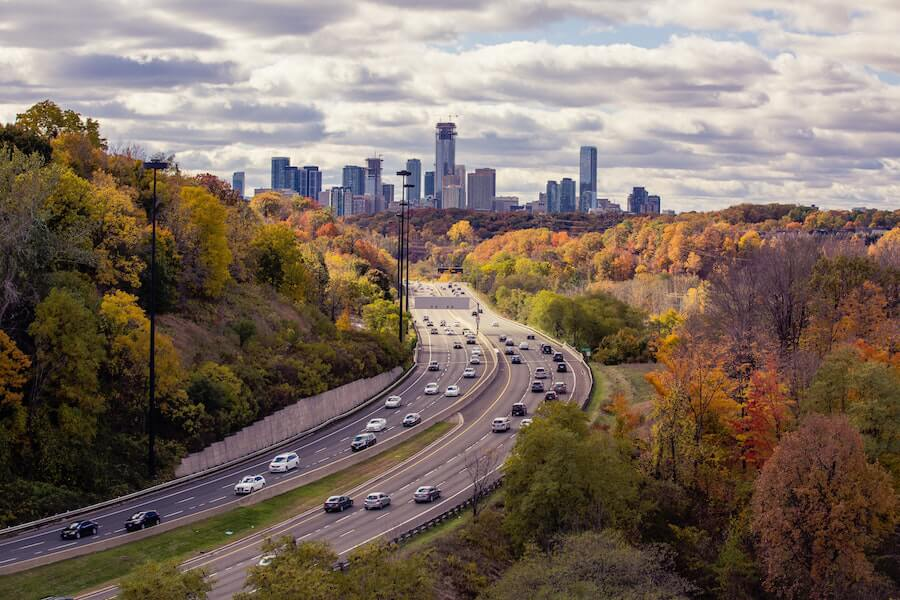 A photo of Toronto in fall from the Leaside Bridge