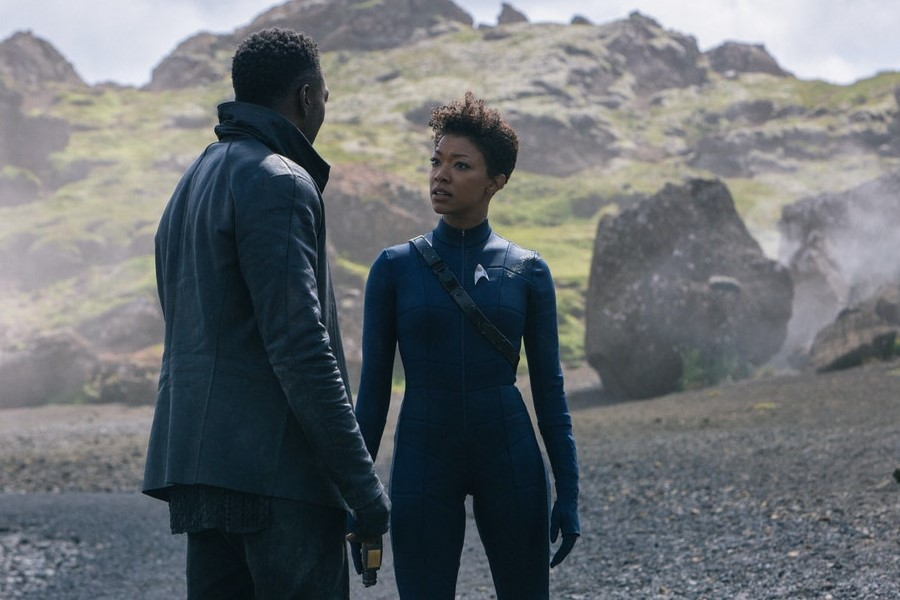 David Ajala and Sonequa Martin-Green in an image from Star Trek: Discovery season 3