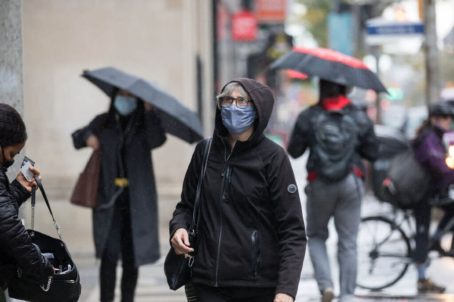 A photo of a person wearing a face mask in Toronto