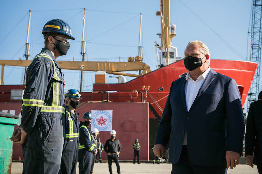 A photo of Ontario Premier Doug Ford at a shipping yard in Hamilton on November 12,2020.