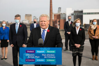 Premier Doug Ford speaks at a COVID-19 press briefing in Ottawa