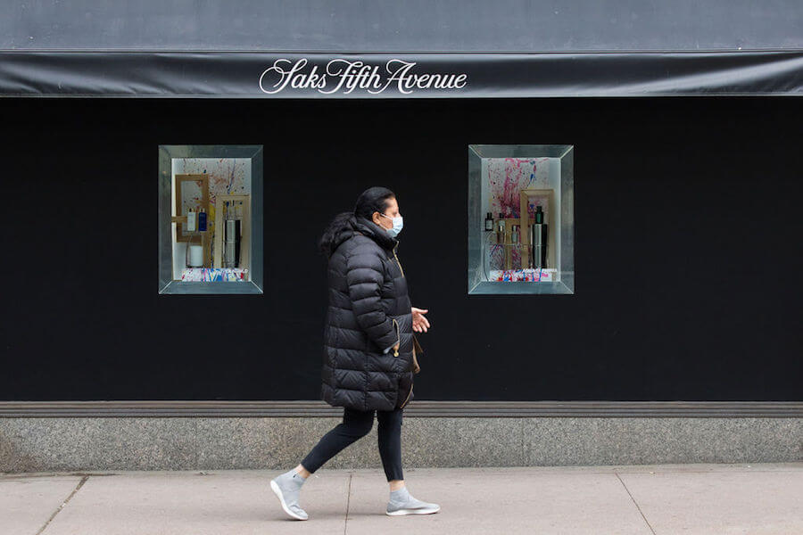 A photo of a person wearing a mask in Toronto during the COVID-19 pandemic in October 2020