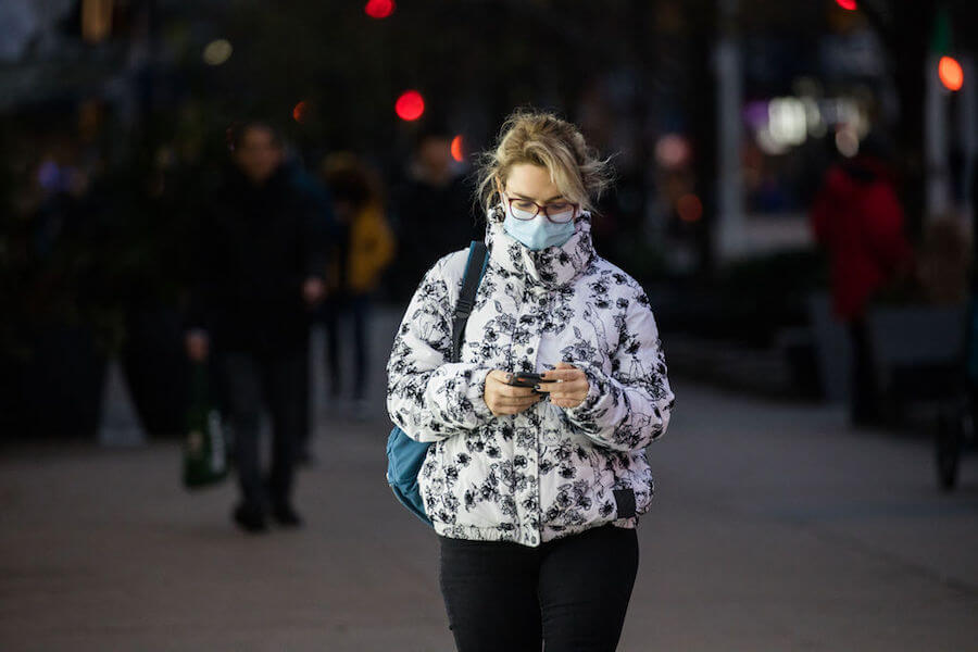 A photo of a person wearing masks during the COVID19 pandemic in Toronto in November 2020