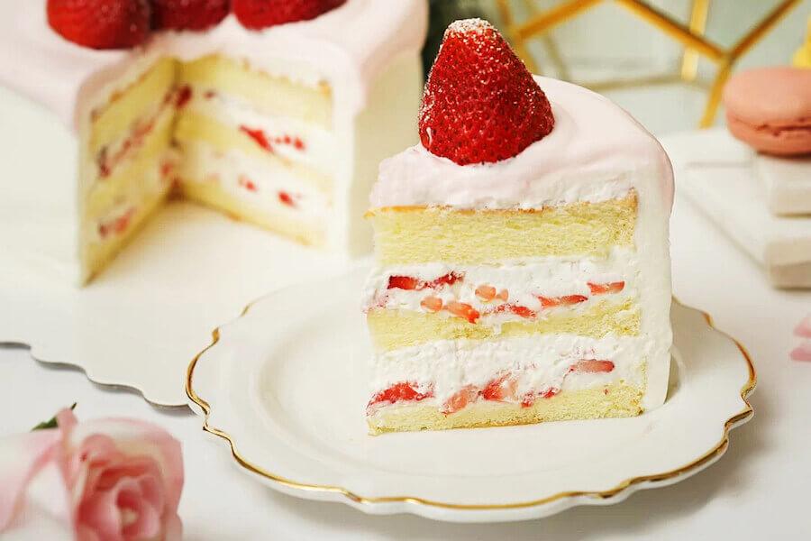 A photo of a Strawberry chiffon cake
