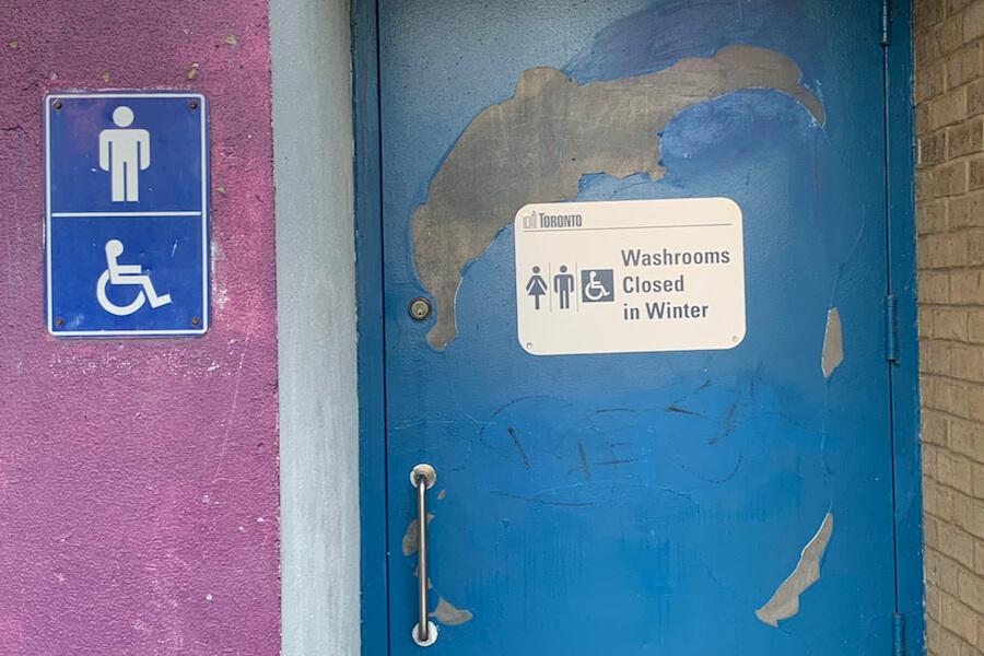 A photo of a closed Toronto park washroom