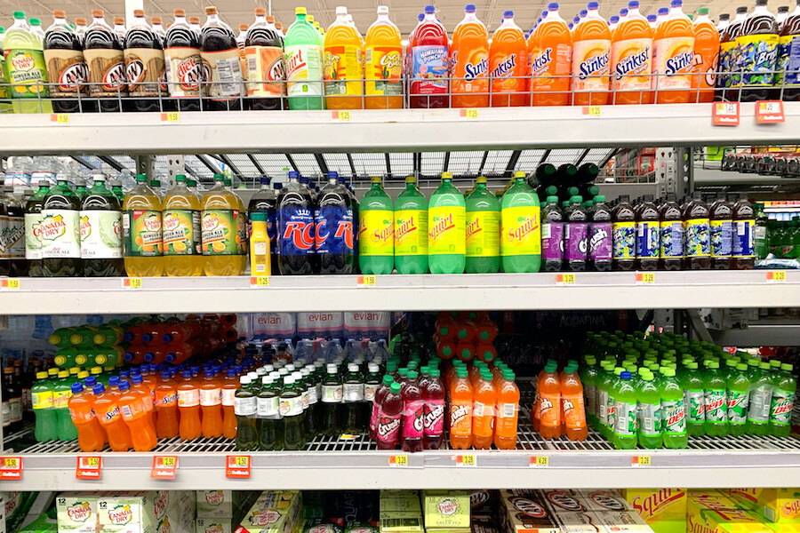 A photo of assorted plastic beverage containers in a supermarket. Some argue they should be part of a plastics ban