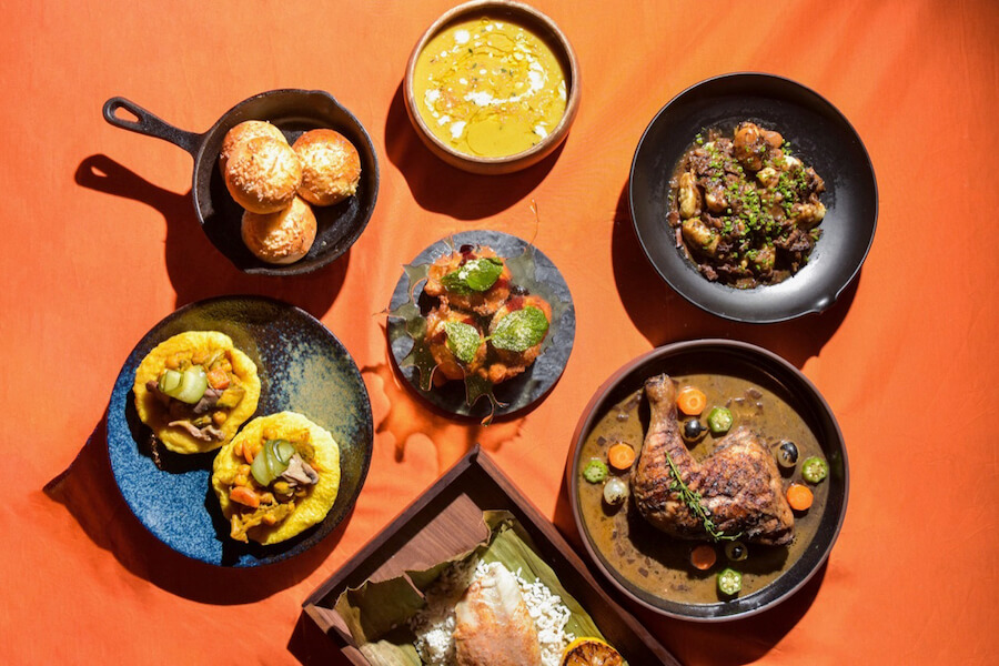 A plated spread from Toronto restaurant Yawd