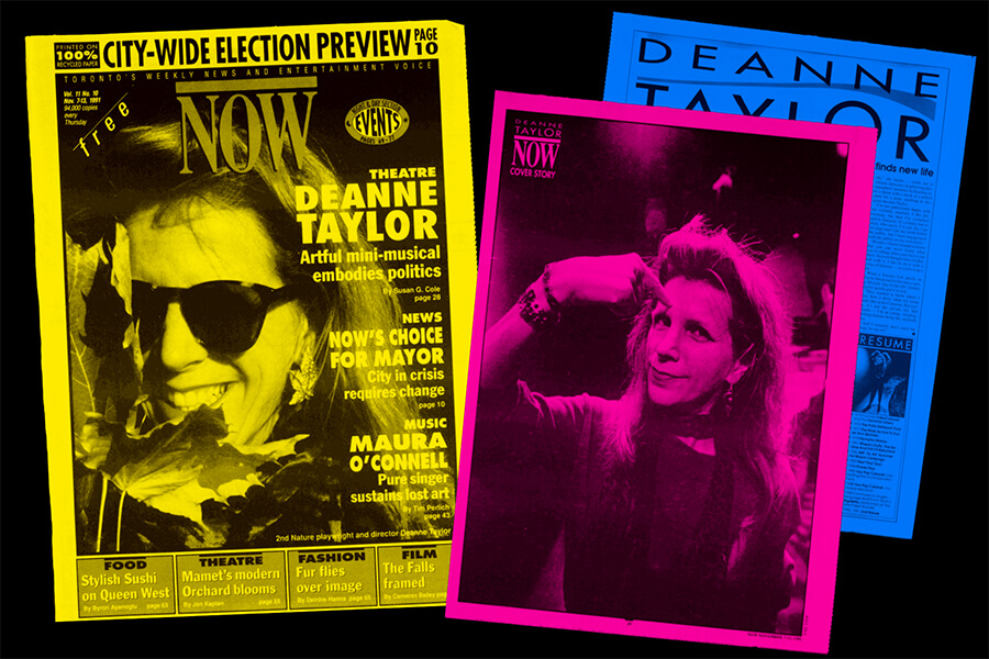 Deanne Taylor was featured on the November 7, 1991 cover of NOW for the remount of her show 2nd Nature.