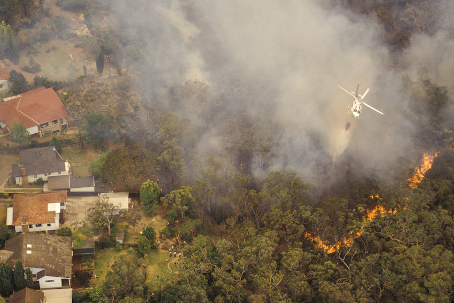 Aerial view of bush fire in Sydney, Australia, a sign of the climate crisis in 2020
