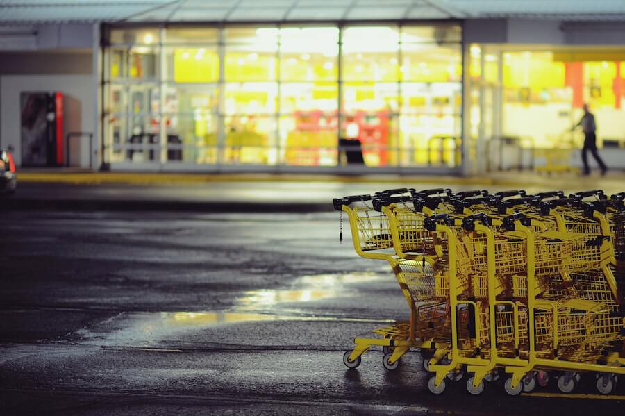 A photo of grocery store carts