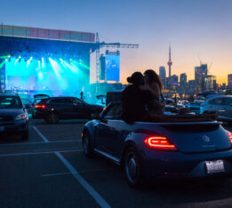 A photo of DVSN drive-in concert at CityView Drive-In in Toronto in August 2020