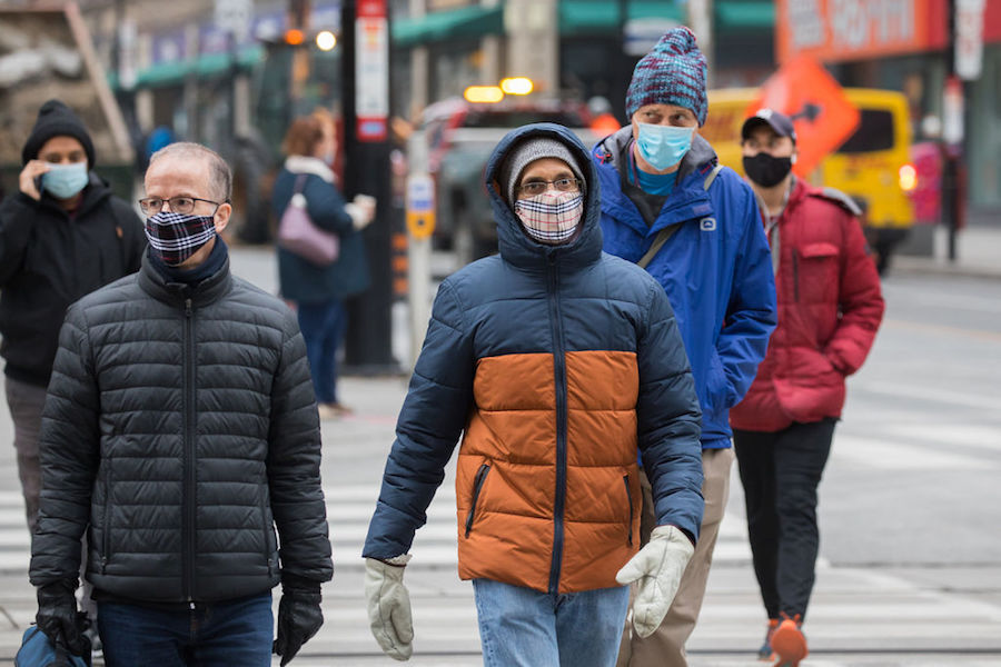 A photo of people wearing masks in Toronto during the COVID-19 pandemic on November 27, 2020