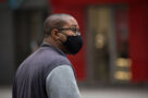 A person wearing a face mask during the COVID-19 pandemic in Toronto