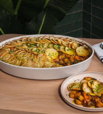 Craig Wong, chef from Toronto makes a plant-based Jamaican-style cottage pie