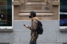 A photo of a person wearing a face mask in Toronto during the COVID-19 pandemic on November 27, 2020