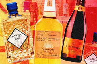 A photo of three splurge bottles of alcohol
