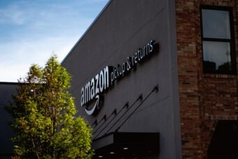 A photo of an Amazon warehouse