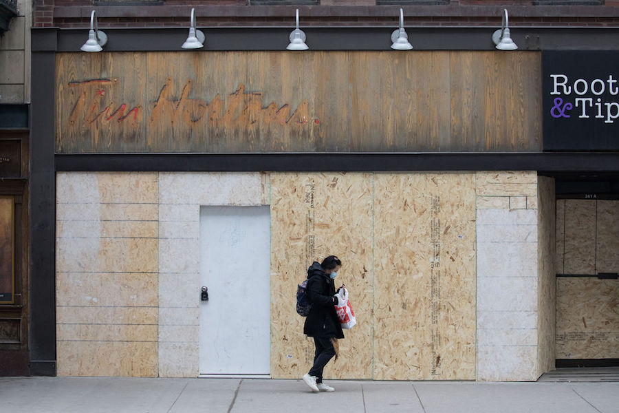 A photo of a former Tim Hortons in Toronto during COVID-19 pandemic on January 15, 2021