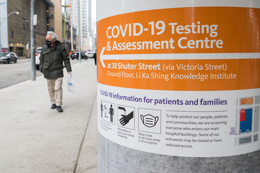 A photo of a COVID-19 testing centre on Victoria Street in Toronto