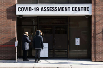 The COVID-19 testing centre at Bathurst and Dundas West in Toronto on January 22, 2021