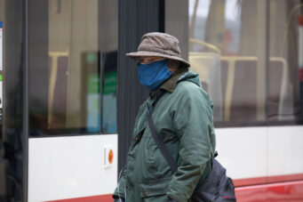 A person wearing a cloth face mask in Toronto on January 15, 2021