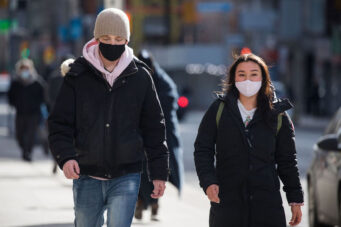 A photo of people wearing masks in Toronto on January 22, 2021