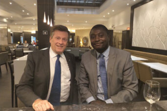 A photo of Toronto Mayor John Tory and Rocco Achampong
