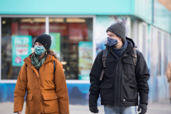 A photo of people wearing masks in Toronto during COVID-19 pandemic on January 22, 2021