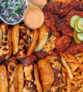 A platter of food from Dave's Hot Chicken in Parkdale