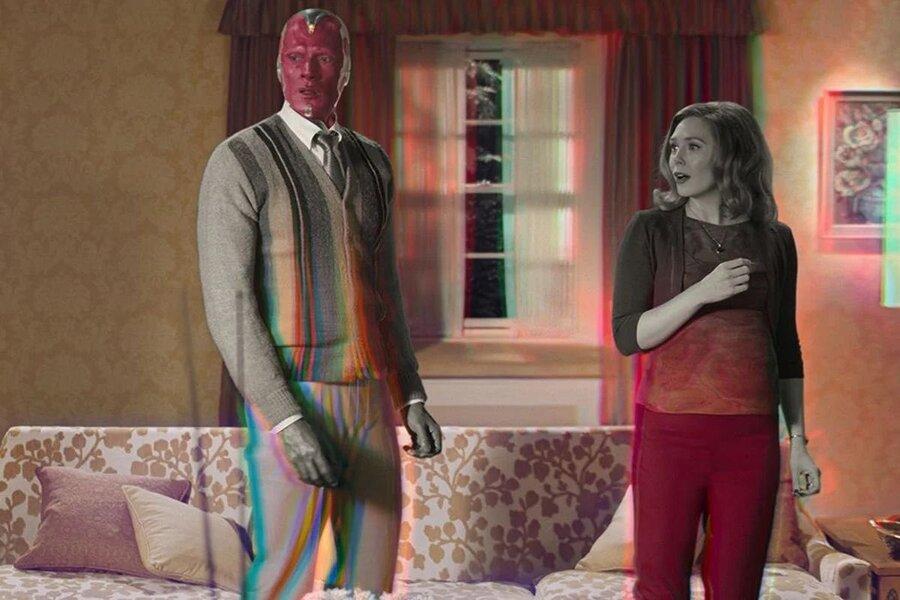 A still of Paul Bettany and Elizabeth Olsen in Marvel Studios' WandaVision.