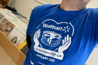 A t-shirt from Shortstack Records' Walmart pop-up