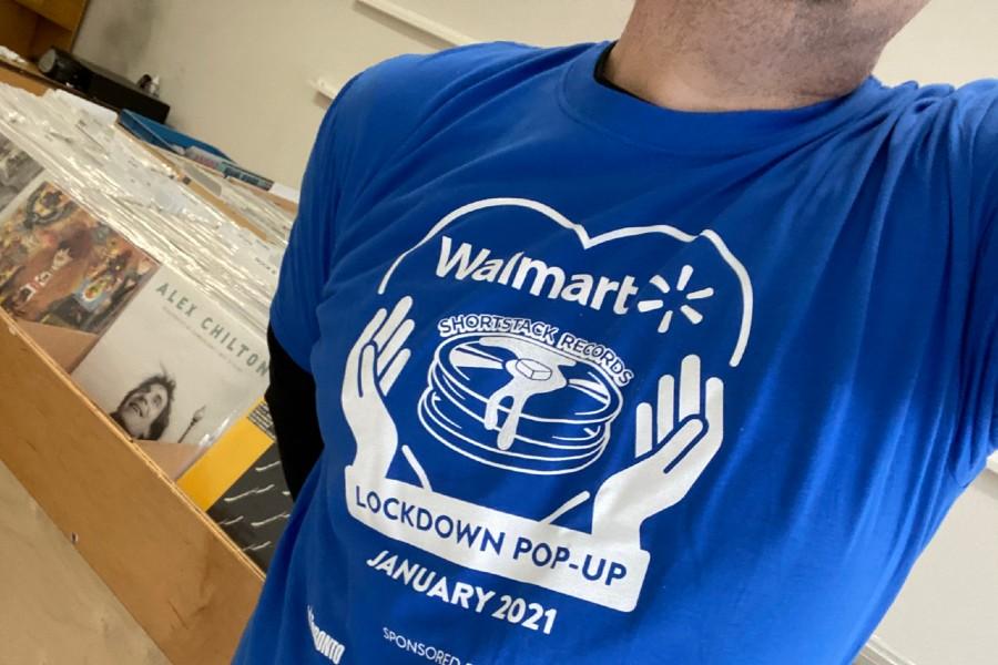 A t-shirt from Shortstack Records' Walmart pop-up