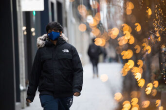A photo of a person in Toronto in face mask during COVID-19 pandemic on January 22, 2021