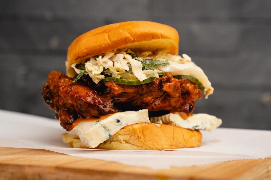 Chikin, a new Toronto restaurant, serves their hot mess fried chicken sandwich