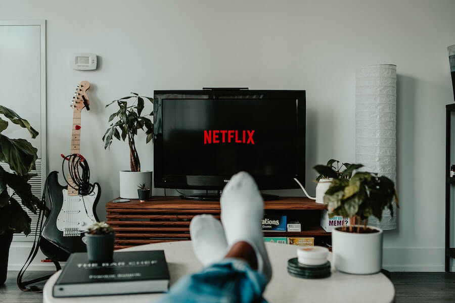 A photo of the Netflix logo on a TV