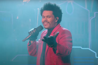 A screenshot of the Weeknd's Super Bowl performance