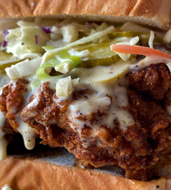 Fried chicken sandwich from Chica's