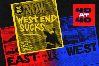 A graphic based on NOW Magazine's East vs West cover