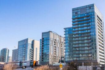 A photo of four condo buildings in Toronto